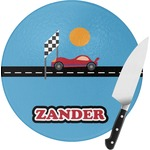 Race Car Round Glass Cutting Board (Personalized)