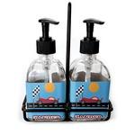 Race Car Soap & Lotion Dispenser Set (Glass) (Personalized)