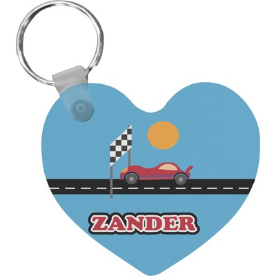 Race Car Heart Keychain (Personalized)