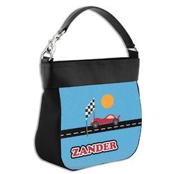 Race Car Hobo Purse w/ Genuine Leather Trim w/ Name or Text