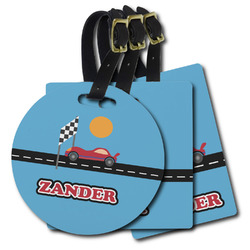 Race Car Plastic Luggage Tags (Personalized)