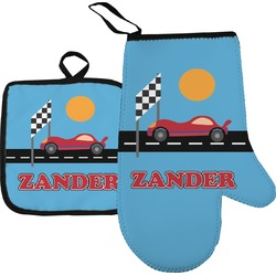 Race Car Oven Mitt & Pot Holder (Personalized)