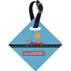Race Car Diamond Luggage Tag (Personalized)