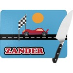Race Car Rectangular Glass Cutting Board (Personalized)