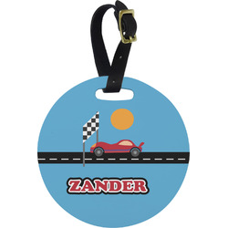 Race Car Round Luggage Tag (Personalized)