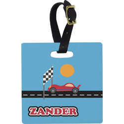 Race Car Square Luggage Tag (Personalized)