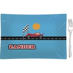 Race Car Rectangular Glass Appetizer / Dessert Plate - Single or Set (Personalized)