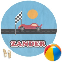 Race Car Round Beach Towel (Personalized)