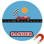 Race Car Round Car Magnet (Personalized)