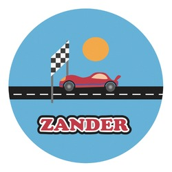 Race Car Round Decal (Personalized)