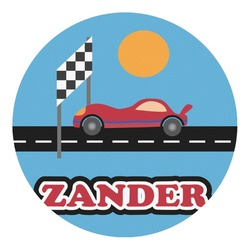 Race Car Round Wall Decal (Personalized)