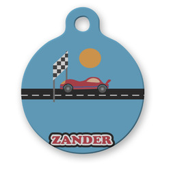 Race Car Round Pet ID Tag (Personalized)