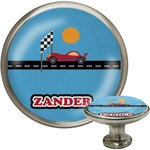 Race Car Cabinet Knob (Silver) (Personalized)