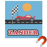 Race Car Square Car Magnet (Personalized)