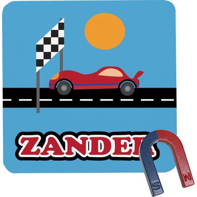 Race Car Square Fridge Magnet (Personalized)