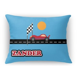 Race Car Rectangular Throw Pillow Case (Personalized)