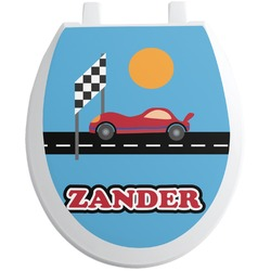 Race Car Toilet Seat Decal - Round (Personalized)
