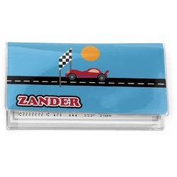 Race Car Vinyl Checkbook Cover (Personalized)