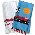 Race Car Waffle Weave Kitchen Towel (Personalized)