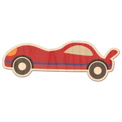 Race Car Genuine Maple or Cherry Wood Sticker (Personalized)