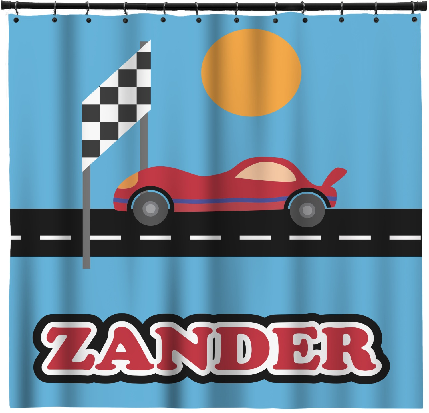 Race Car Shower Curtain Personalized