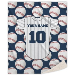 Baseball Jersey Sherpa Throw Blanket (Personalized)