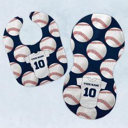Baseball Jersey Baby Bib & Burp Set w/ Name and Number