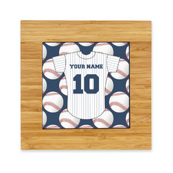 Baseball Jersey Bamboo Trivet with Ceramic Tile Insert (Personalized)