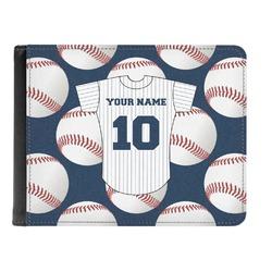 Baseball Jersey Genuine Leather Men's Bi-fold Wallet (Personalized)