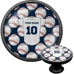 Baseball Jersey Cabinet Knob (Black) (Personalized)