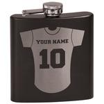 Baseball Jersey Black Flask (Personalized)