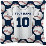 Baseball Jersey Faux-Linen Throw Pillow (Personalized)