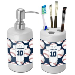 Baseball Jersey Bathroom Accessories Set (Ceramic) (Personalized)