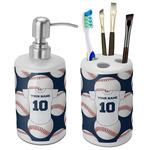 Baseball Jersey Ceramic Bathroom Accessories Set (Personalized)