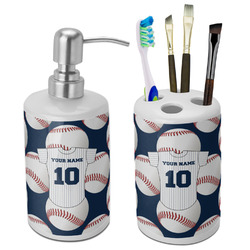 Baseball Jersey Ceramic Bathroom Accessories Set (Personalized)