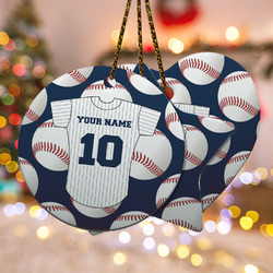Baseball Jersey Ceramic Ornament w/ Name and Number
