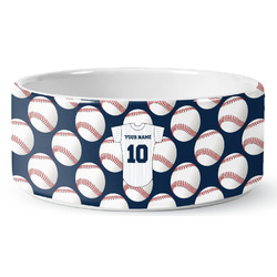 Baseball Jersey Ceramic Dog Bowl (Personalized)