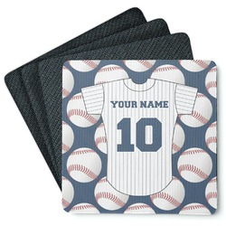 Baseball Jersey 4 Square Coasters - Rubber Backed (Personalized)