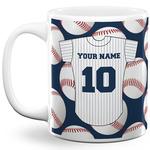 Baseball Jersey 11 Oz Coffee Mug - White (Personalized)