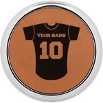 Baseball Jersey Leatherette Round Coaster w/ Silver Edge - Single or Set (Personalized)