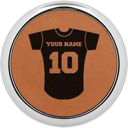 Baseball Jersey Leatherette Round Coaster w/ Silver Edge - Single or Set (Personalized)