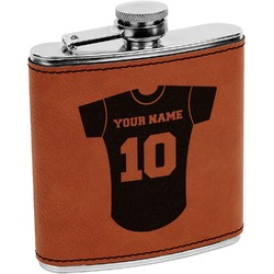 Baseball Jersey Leatherette Wrapped Stainless Steel Flask (Personalized)
