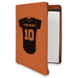 Baseball Jersey Leatherette Zipper Portfolio with Notepad (Personalized)