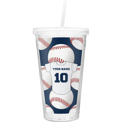 Baseball Jersey Double Wall Tumbler with Straw (Personalized)