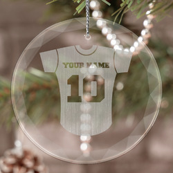 Baseball Jersey Engraved Glass Ornament (Personalized)