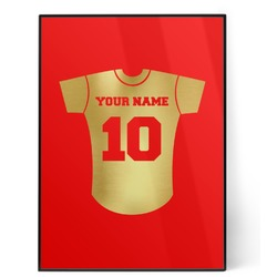 Baseball Jersey 5x7 Red Foil Print (Personalized)