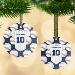 Baseball Jersey Flat Glass Ornament w/ Name and Number