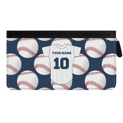 Baseball Jersey Genuine Leather Ladies Zippered Wallet (Personalized)