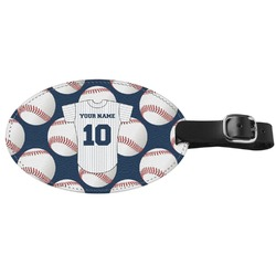 Baseball Jersey Genuine Leather Oval Luggage Tag (Personalized)