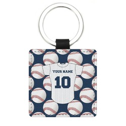 Baseball Jersey Genuine Leather Rectangular Keychain (Personalized)